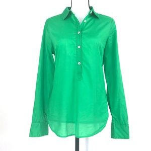 J. Crew Indian Voile Popover Bright Green Size 6